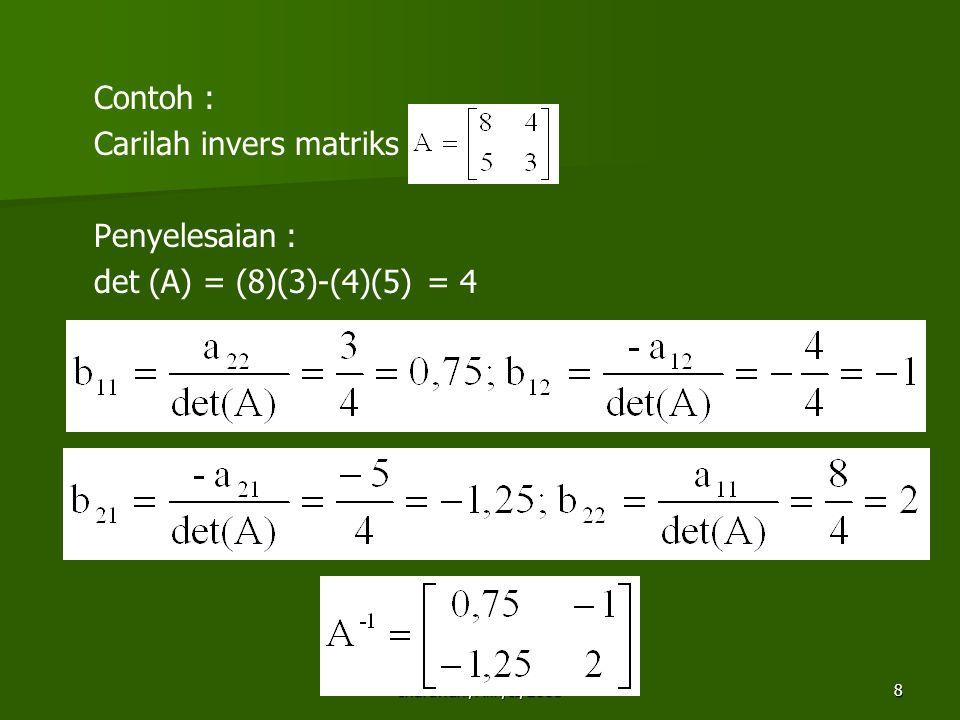 Indrawani/Alin/II/20089 2.Menghitung Invers matriks dengan Adjoin.