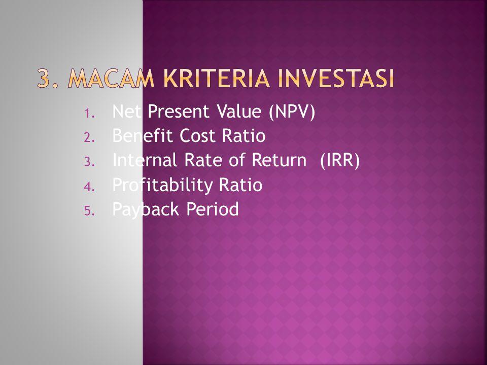 1.Net Present Value (NPV) 2. Benefit Cost Ratio 3.