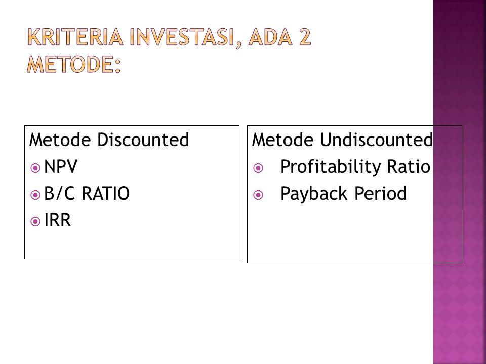  Mengetahui apakah benefit netto suatu proyek lebih besar atau lebih kecil dari benefit netto suatu peluang investasi marjinal  Menentukan urutan be
