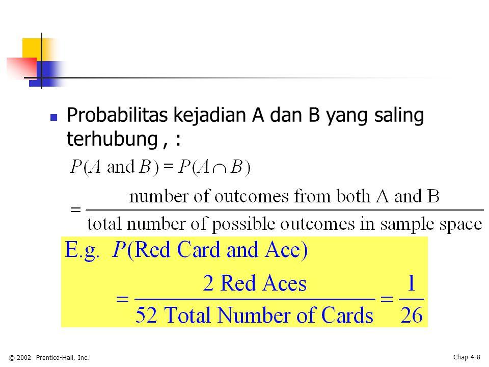 © 2002 Prentice-Hall, Inc. Chap 4-8 Probabilitas kejadian A dan B yang saling terhubung, :