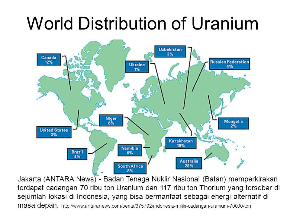 World Distribution of Uranium Jakarta (ANTARA News) - Badan Tenaga Nuklir Nasional (Batan) memperkirakan terdapat cadangan 70 ribu ton Uranium dan 117