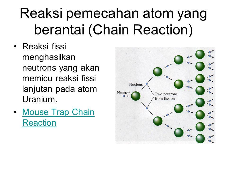 Reaksi pemecahan atom yang berantai (Chain Reaction) Reaksi fissi menghasilkan neutrons yang akan memicu reaksi fissi lanjutan pada atom Uranium. Mous