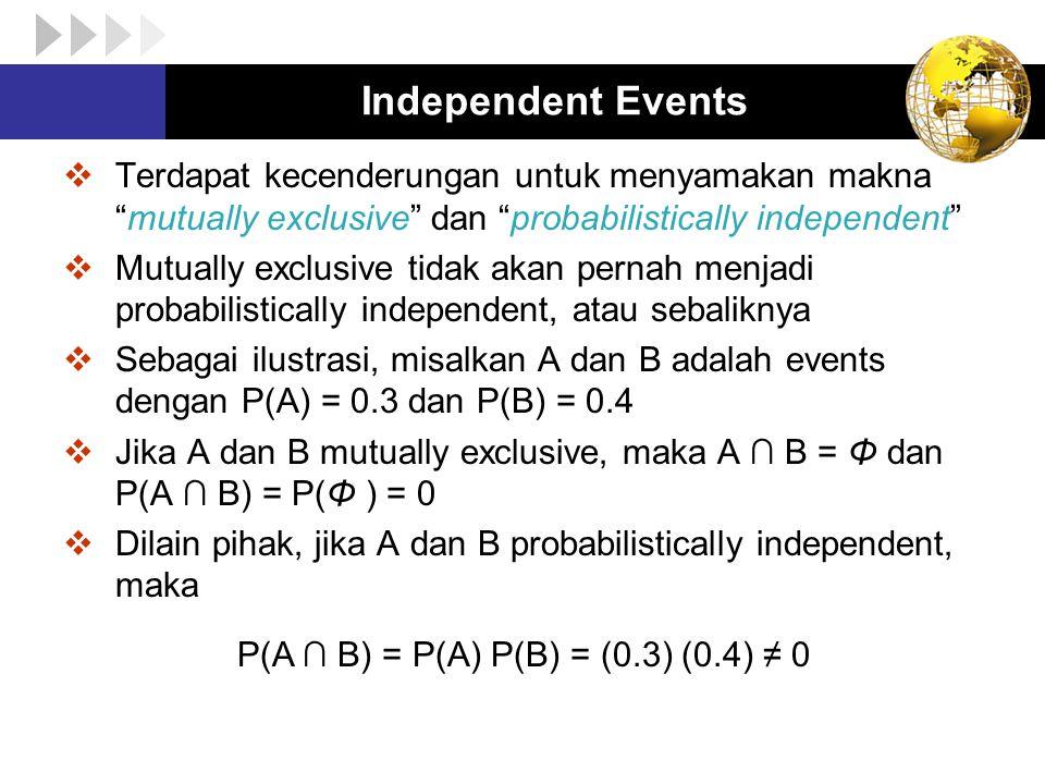 """Independent Events  Terdapat kecenderungan untuk menyamakan makna """"mutually exclusive"""" dan """"probabilistically independent""""  Mutually exclusive tidak"""
