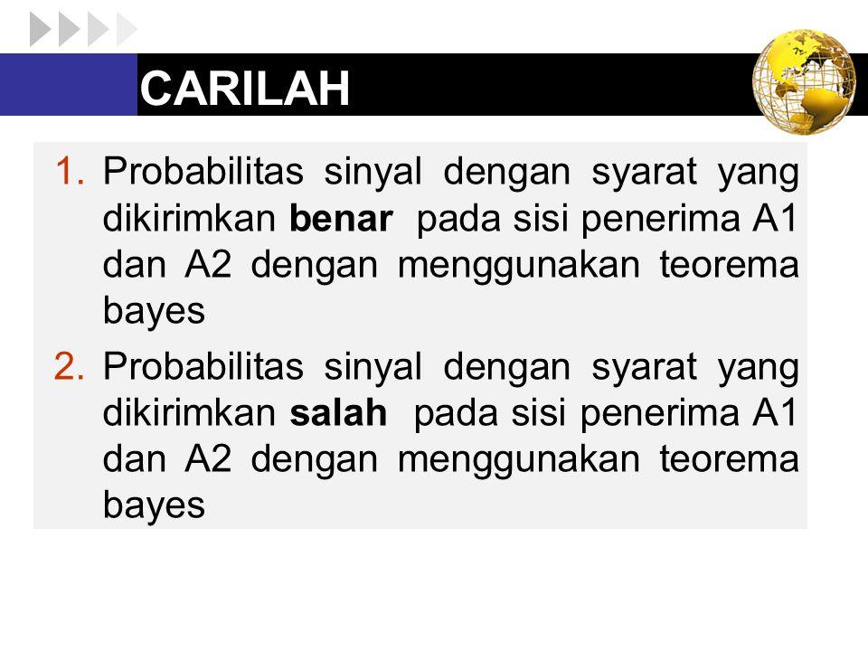 CARILAH 1.Probabilitas sinyal dengan syarat yang dikirimkan benar pada sisi penerima A1 dan A2 dengan menggunakan teorema bayes 2.Probabilitas sinyal