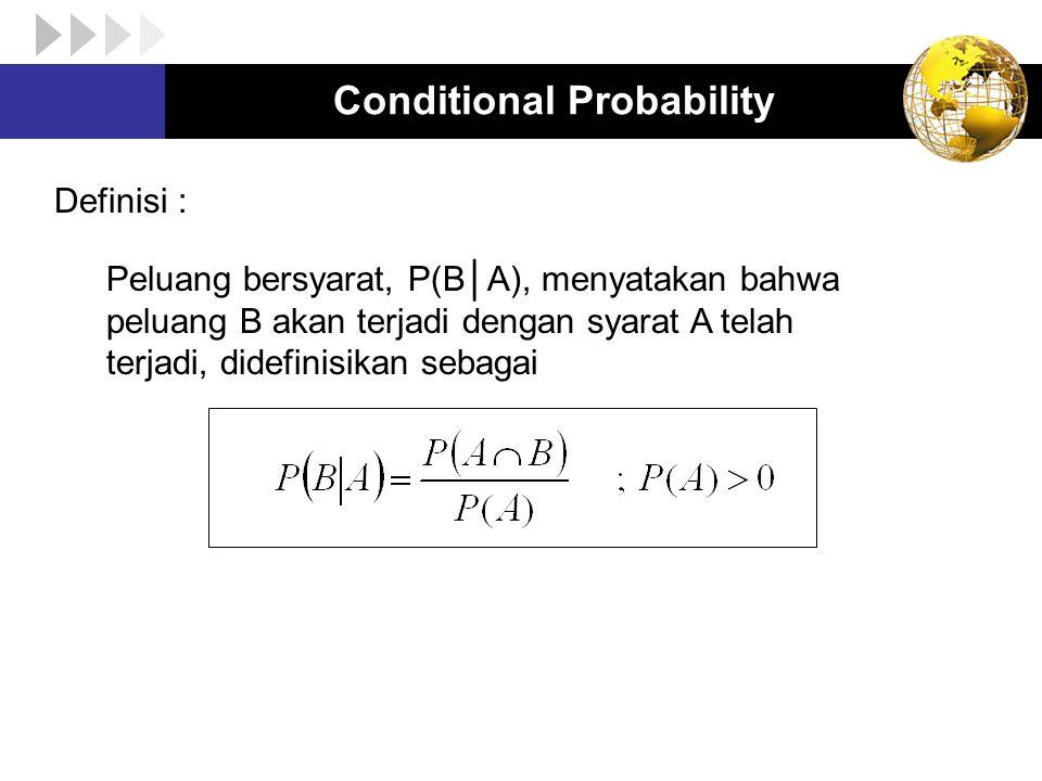Conditional Probability Definisi : Peluang bersyarat, P(B│A), menyatakan bahwa peluang B akan terjadi dengan syarat A telah terjadi, didefinisikan seb
