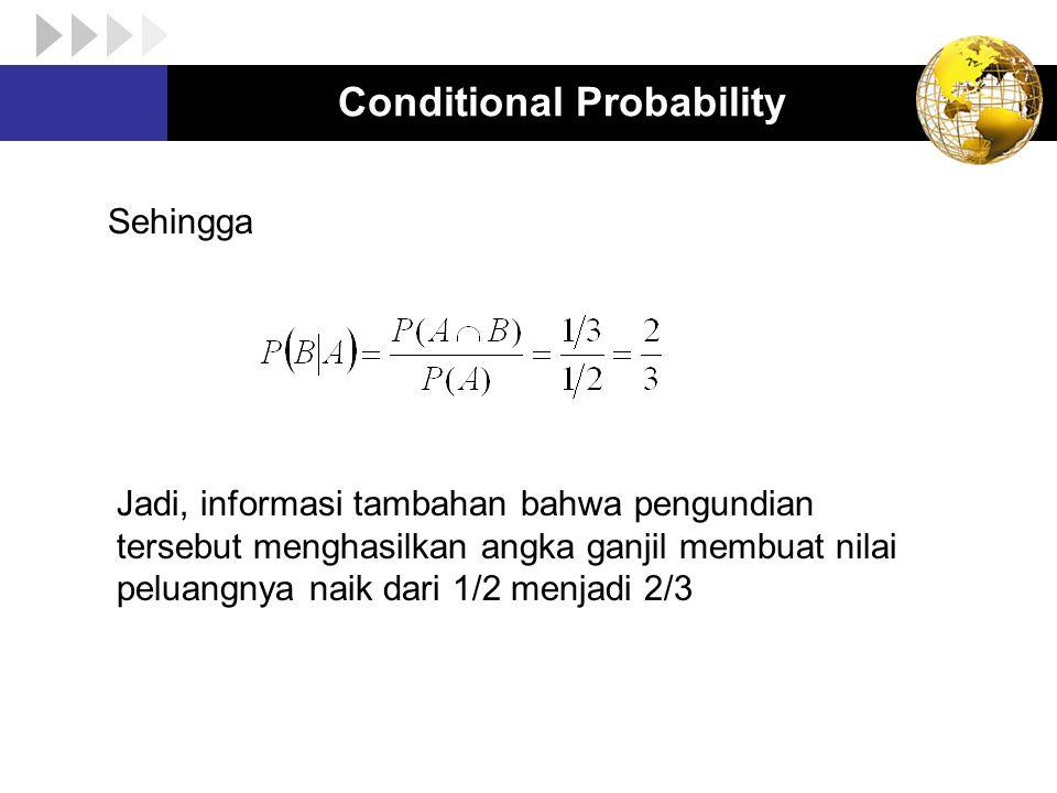 Conditional Probability Sifat-sifat peluang bersyarat : 1.P(B│A) > 0 2.P(Ω│A) = 1 3.Jika B 1 ∩ B 2 = Φ, maka 4.Hukum komplemen 5.Hukum perkalian