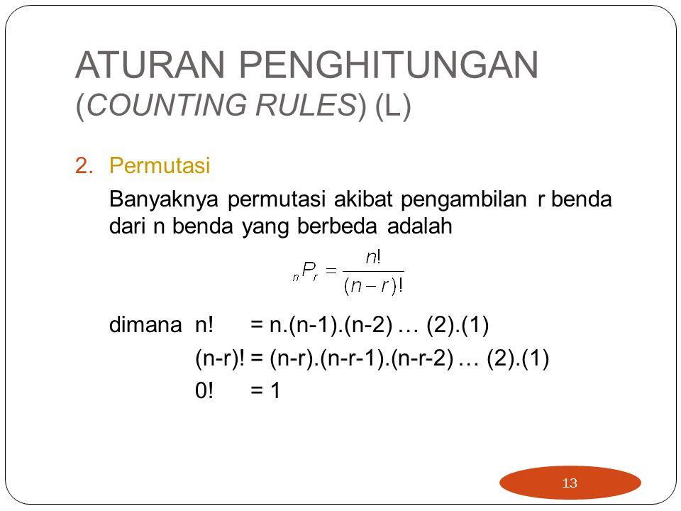 ATURAN PENGHITUNGAN (COUNTING RULES) (L) 2.Permutasi Banyaknya permutasi akibat pengambilan r benda dari n benda yang berbeda adalah dimana n! = n.(n-