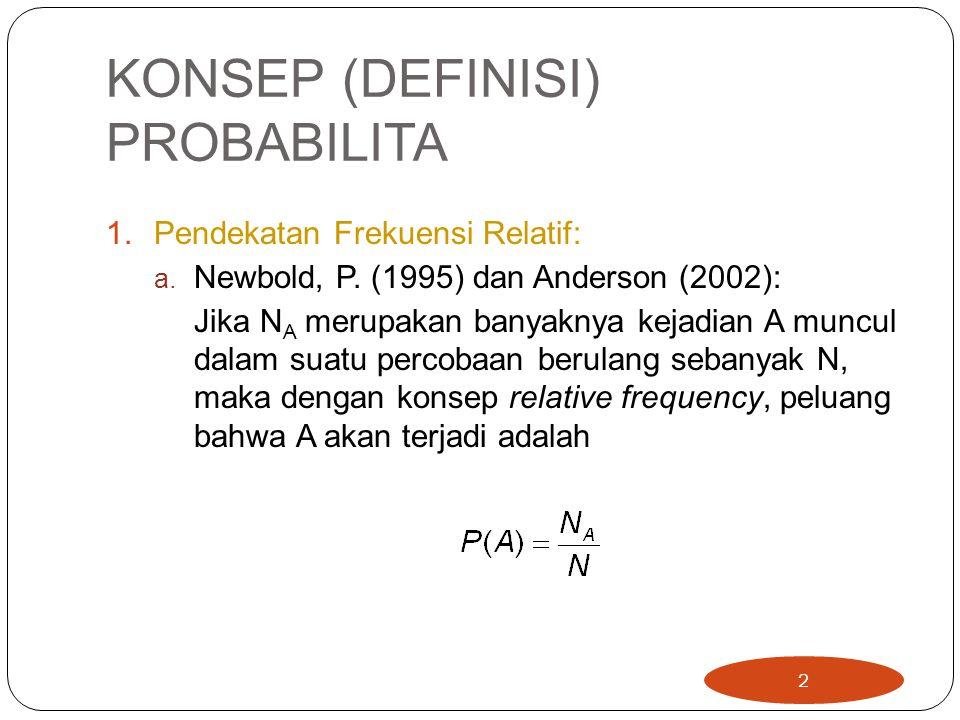 KONSEP (DEFINISI) PROBABILITA 1.Pendekatan Frekuensi Relatif: a. Newbold, P. (1995) dan Anderson (2002): Jika N A merupakan banyaknya kejadian A muncu