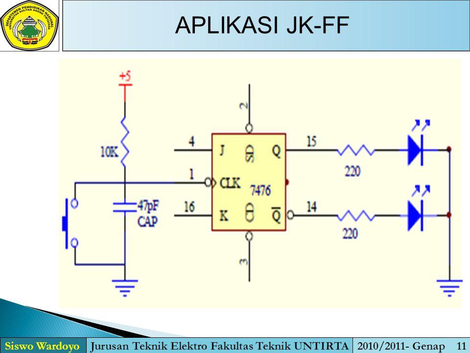 APLIKASI JK-FF Siswo WardoyoJurusan Teknik Elektro Fakultas Teknik UNTIRTA2010/2011- Genap 11