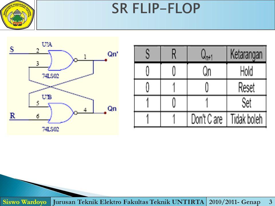 SR FLIP-FLOP Siswo WardoyoJurusan Teknik Elektro Fakultas Teknik UNTIRTA2010/2011- Genap 3