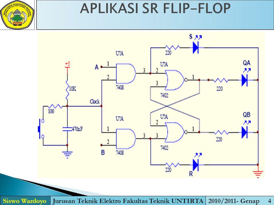 APLIKASI SR FLIP-FLOP Siswo WardoyoJurusan Teknik Elektro Fakultas Teknik UNTIRTA2010/2011- Genap 4