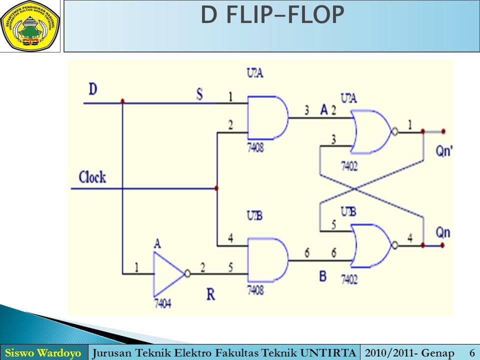 D FLIP-FLOP Siswo WardoyoJurusan Teknik Elektro Fakultas Teknik UNTIRTA2010/2011- Genap 6