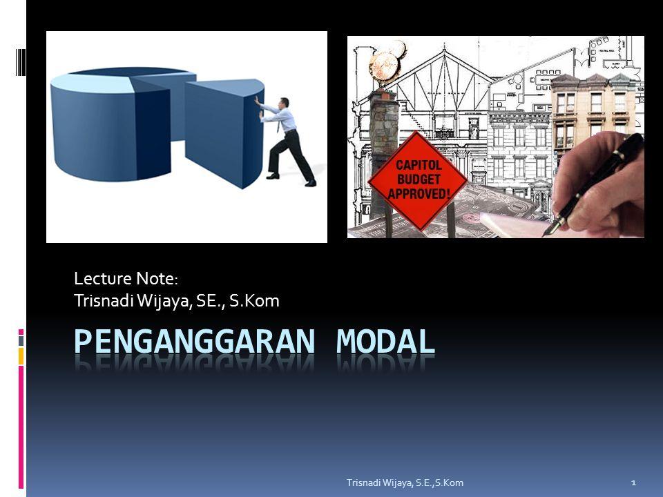 Contoh Soal IRR Trisnadi Wijaya, S.E.,S.Kom 12 TahunArus Kas Bersih 0(1.000.000) 1500.000 2400.000 3300.000 4100.000 Biaya modal proyek=10%