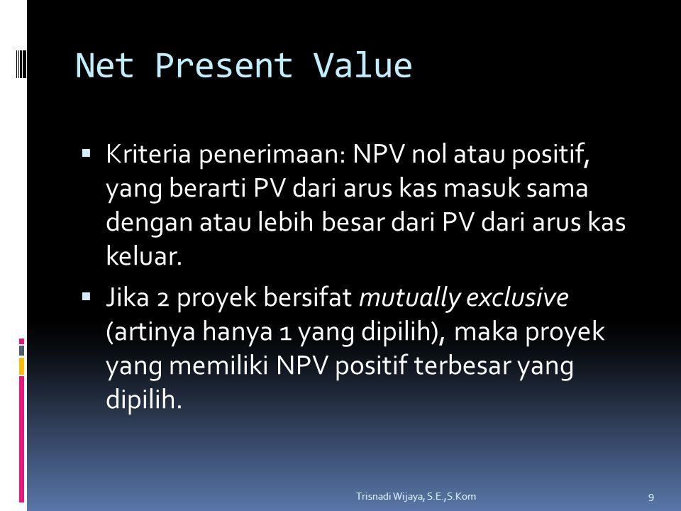 Net Present Value  Kriteria penerimaan: NPV nol atau positif, yang berarti PV dari arus kas masuk sama dengan atau lebih besar dari PV dari arus kas