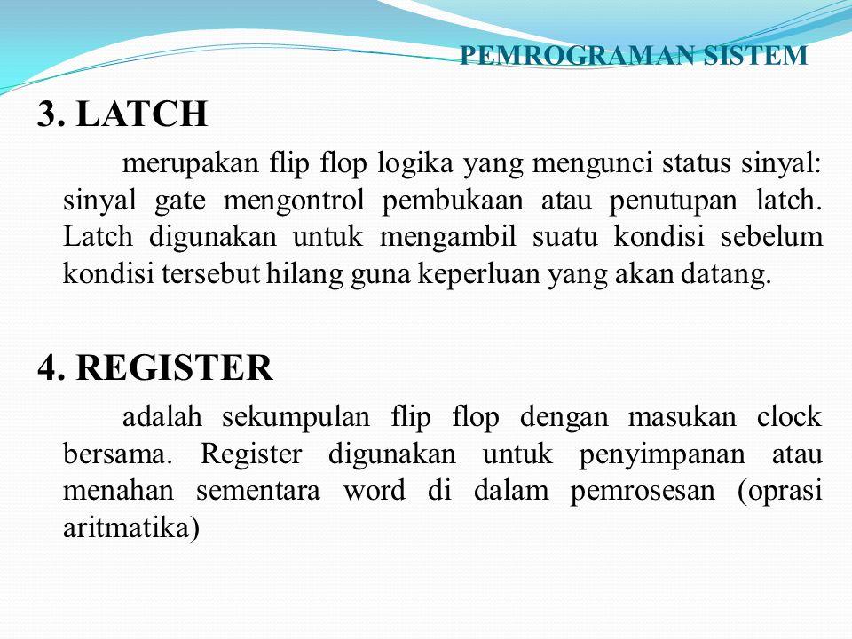 PEMROGRAMAN SISTEM 3. LATCH merupakan flip flop logika yang mengunci status sinyal: sinyal gate mengontrol pembukaan atau penutupan latch. Latch digun