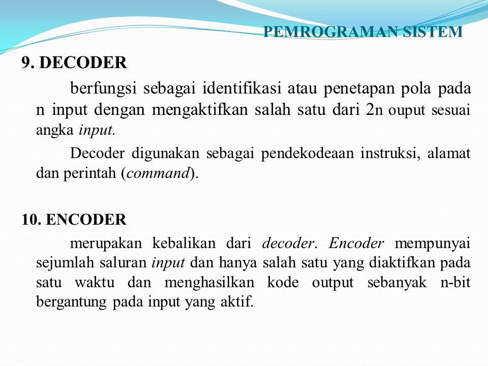 PEMROGRAMAN SISTEM 9. DECODER berfungsi sebagai identifikasi atau penetapan pola pada n input dengan mengaktifkan salah satu dari 2 n ouput sesuai ang
