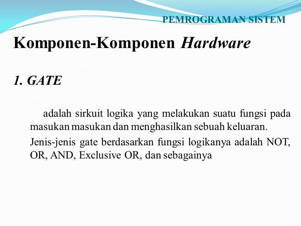 PEMROGRAMAN SISTEM Komponen-Komponen Hardware 1. GATE adalah sirkuit logika yang melakukan suatu fungsi pada masukan masukan dan menghasilkan sebuah k