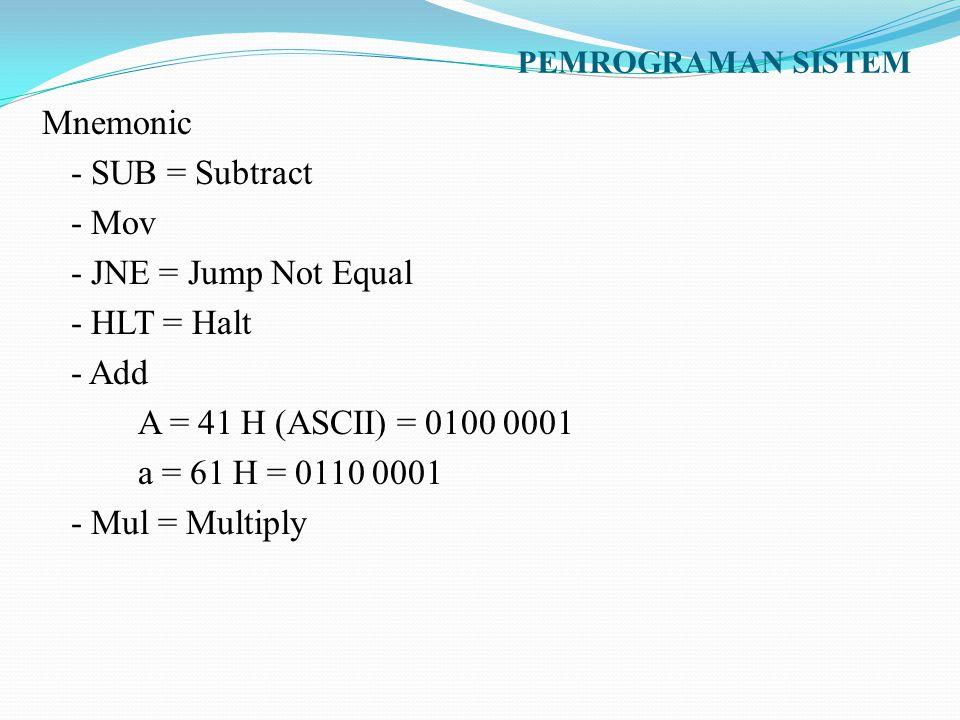 PEMROGRAMAN SISTEM Mnemonic - SUB = Subtract - Mov - JNE = Jump Not Equal - HLT = Halt - Add A = 41 H (ASCII) = 0100 0001 a = 61 H = 0110 0001 - Mul =