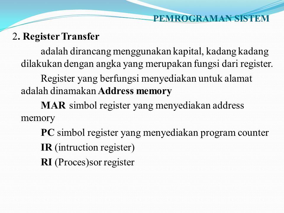 PEMROGRAMAN SISTEM 2. Register Transfer adalah dirancang menggunakan kapital, kadang kadang dilakukan dengan angka yang merupakan fungsi dari register