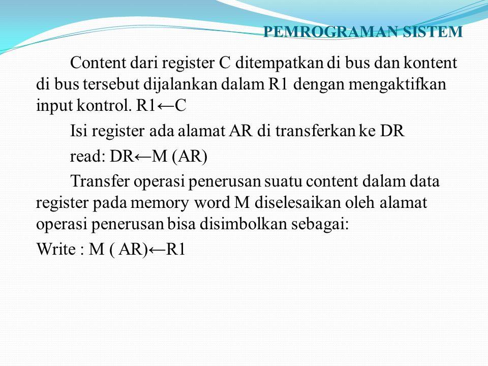 PEMROGRAMAN SISTEM Content dari register C ditempatkan di bus dan kontent di bus tersebut dijalankan dalam R1 dengan mengaktifkan input kontrol. R1←C