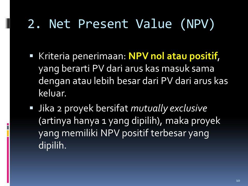  Kriteria penerimaan: NPV nol atau positif, yang berarti PV dari arus kas masuk sama dengan atau lebih besar dari PV dari arus kas keluar.