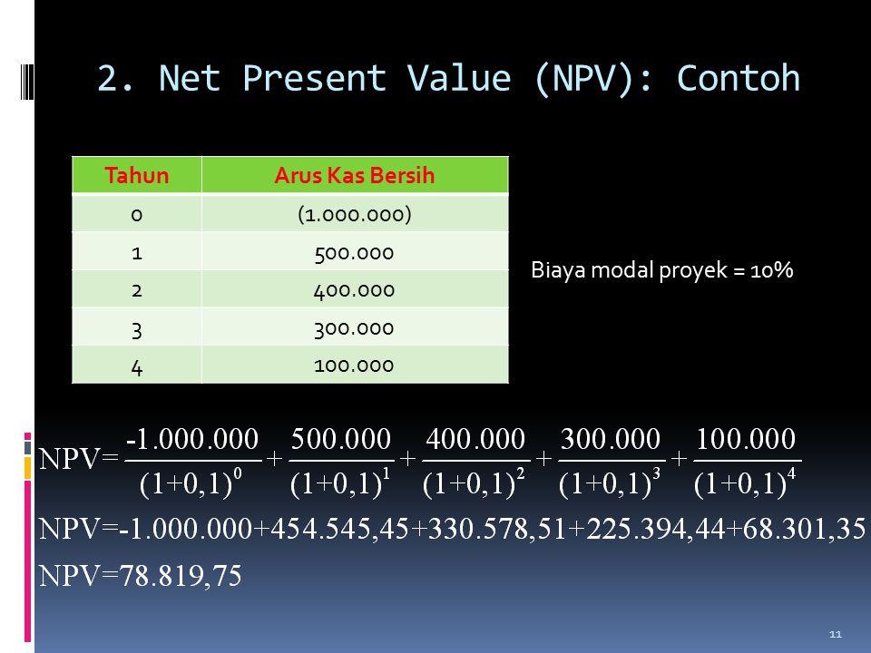 2. Net Present Value (NPV): Contoh 11 TahunArus Kas Bersih 0(1.000.000) 1500.000 2400.000 3300.000 4100.000 Biaya modal proyek = 10%