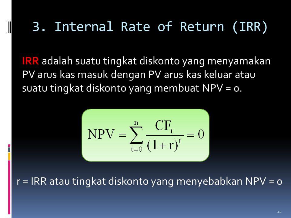 3. Internal Rate of Return (IRR) IRR adalah suatu tingkat diskonto yang menyamakan PV arus kas masuk dengan PV arus kas keluar atau suatu tingkat disk