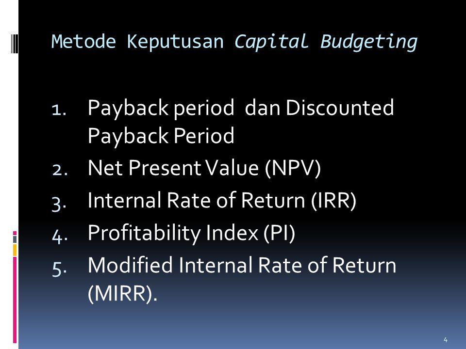 1.Payback Period  Periode waktu yang diperlukan untuk mengembalikan investasi pada proyek.