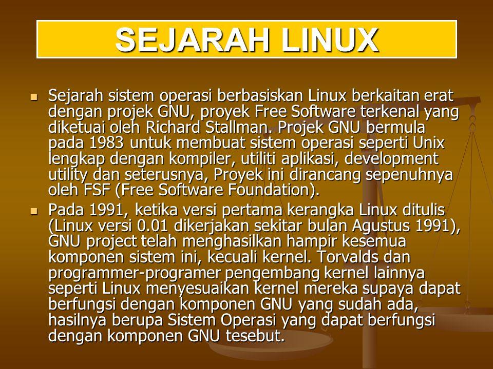 Linux/UNIX mendukung struktur file yang bersifat hirarki.