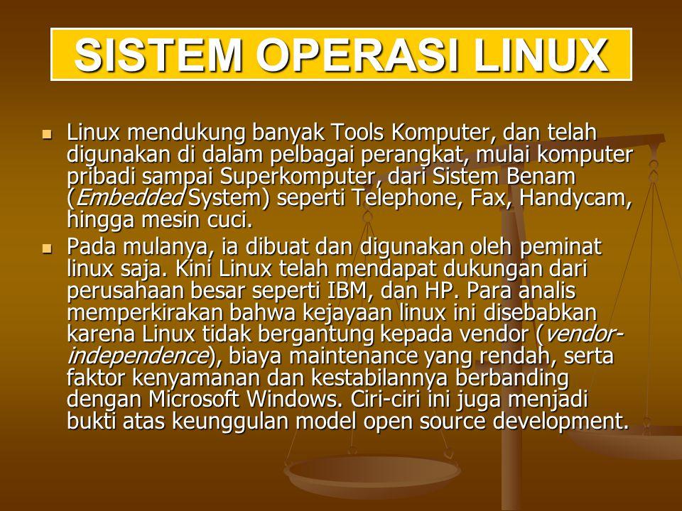 Sistem Linux terdiri dari tiga bagian kode penting: Kernel: Bertanggung jawab memelihara semua abstraksi penting dari sistem operasi, termasuk hal seperti proses-proses dan memori virtual.