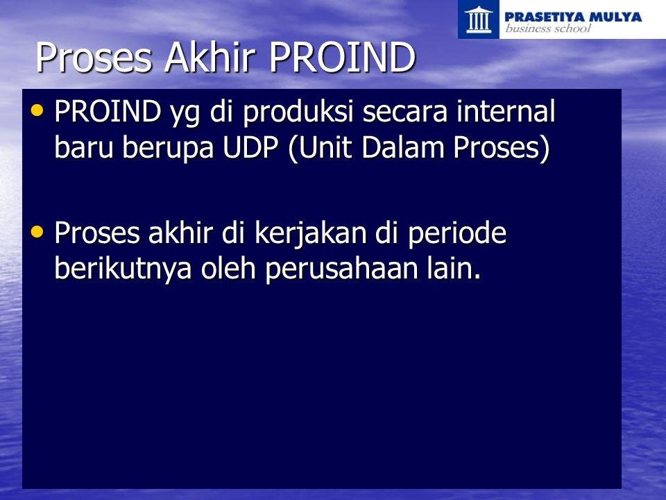 Proses Akhir PROIND PROIND yg di produksi secara internal baru berupa UDP (Unit Dalam Proses) PROIND yg di produksi secara internal baru berupa UDP (U