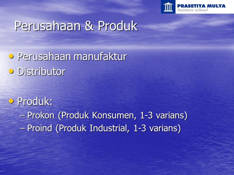 Perusahaan & Produk Perusahaan manufaktur Perusahaan manufaktur Distributor Distributor Produk: Produk: –Prokon (Produk Konsumen, 1-3 varians) –Proind