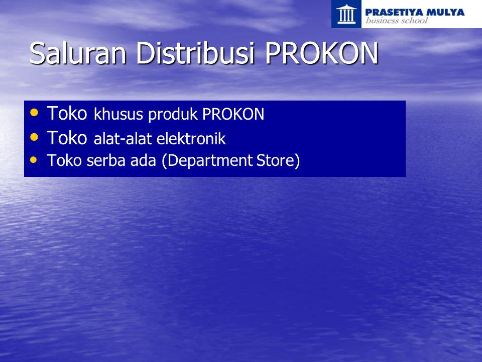 Saluran Distribusi PROKON Toko khusus produk PROKON Toko alat-alat elektronik Toko serba ada (Department Store)
