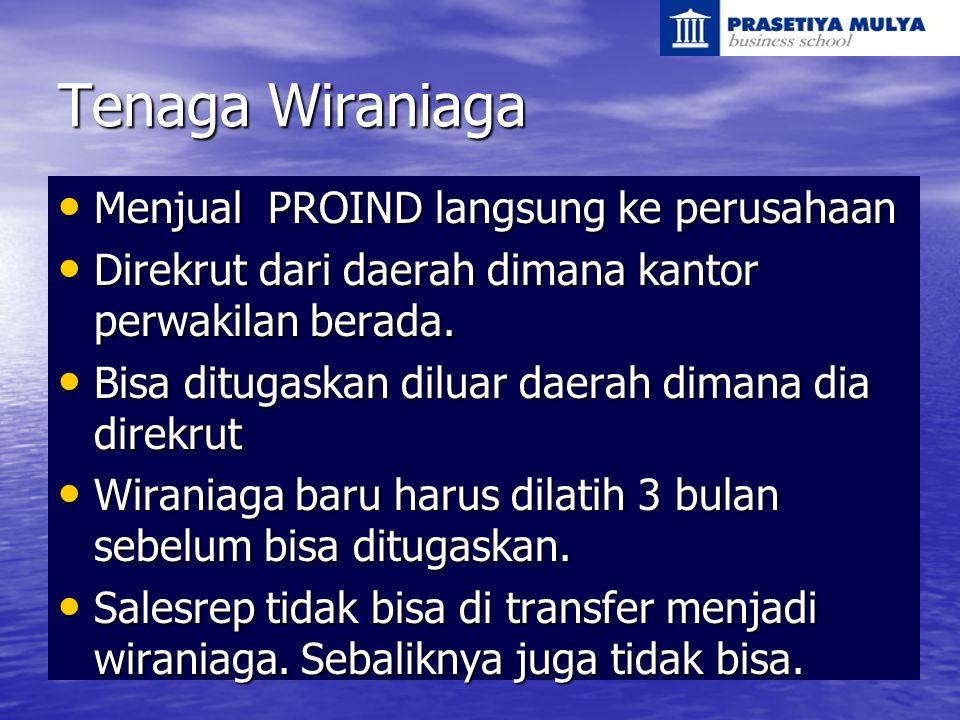 Tenaga Wiraniaga Menjual PROIND langsung ke perusahaan Menjual PROIND langsung ke perusahaan Direkrut dari daerah dimana kantor perwakilan berada. Dir