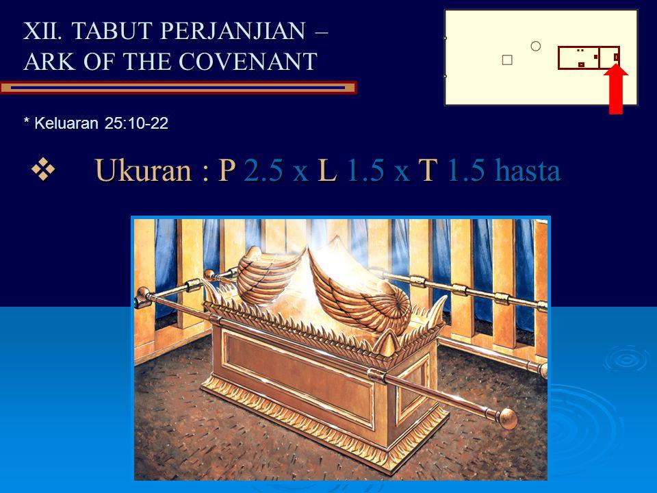 XII. TABUT PERJANJIAN – ARK OF THE COVENANT  Ukuran : P 2.5 x L 1.5 x T 1.5 hasta * Keluaran 25:10-22