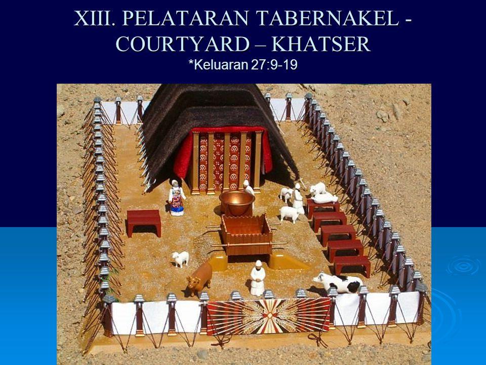 XIII. PELATARAN TABERNAKEL - COURTYARD – KHATSER *Keluaran 27:9-19