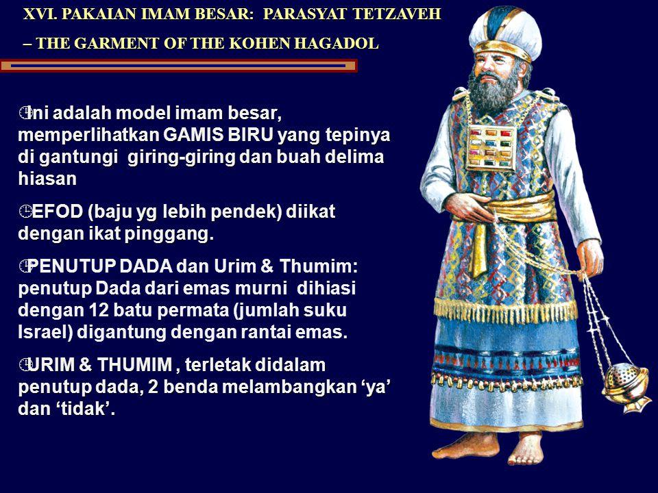 XVI. PAKAIAN IMAM BESAR: PARASYAT TETZAVEH – THE GARMENT OF THE KOHEN HAGADOL ¹Ini adalah model imam besar, memperlihatkan GAMIS BIRU yang tepinya di