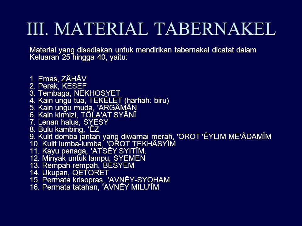 III. MATERIAL TABERNAKEL Material yang disediakan untuk mendirikan tabernakel dicatat dalam Keluaran 25 hingga 40, yaitu: 1. Emas, ZÂHÂV 2. Perak, KES