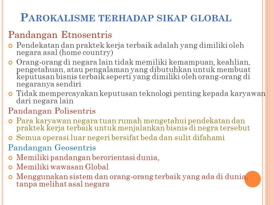 P AROKALISME TERHADAP SIKAP GLOBAL Pandangan Etnosentris Pendekatan dan praktek kerja terbaik adalah yang dimiliki oleh negara asal (home country) Ora