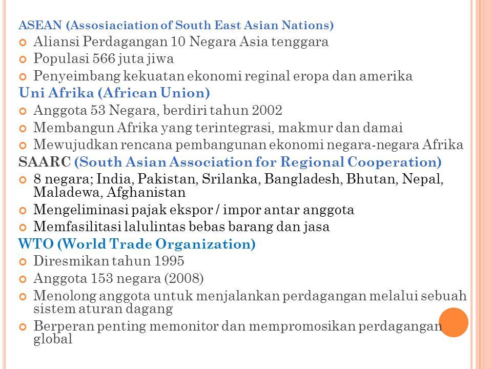 ASEAN (Assosiaciation of South East Asian Nations) Aliansi Perdagangan 10 Negara Asia tenggara Populasi 566 juta jiwa Penyeimbang kekuatan ekonomi reg
