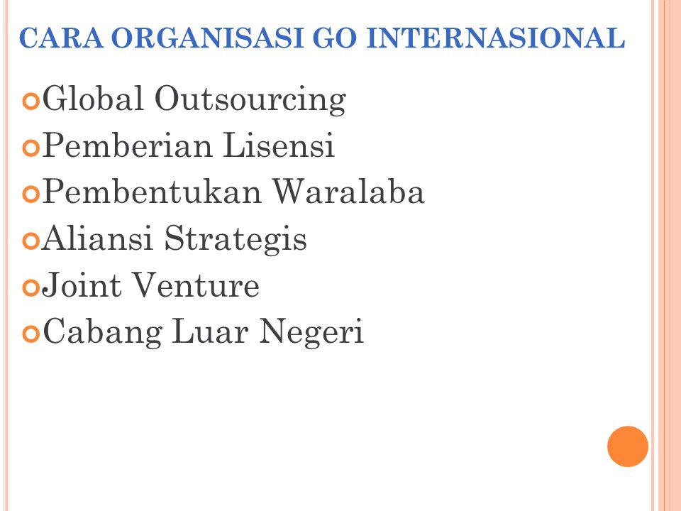 CARA ORGANISASI GO INTERNASIONAL Global Outsourcing Pemberian Lisensi Pembentukan Waralaba Aliansi Strategis Joint Venture Cabang Luar Negeri