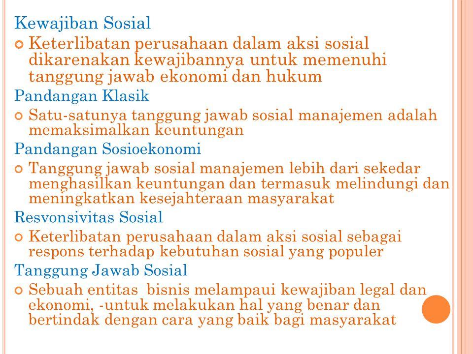 Kewajiban Sosial Keterlibatan perusahaan dalam aksi sosial dikarenakan kewajibannya untuk memenuhi tanggung jawab ekonomi dan hukum Pandangan Klasik S