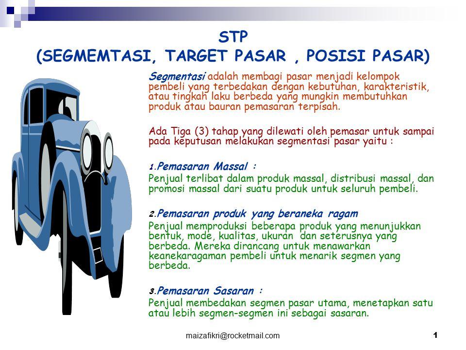 maizafikri@rocketmail.com 1 STP (SEGMEMTASI, TARGET PASAR, POSISI PASAR) Segmentasi adalah membagi pasar menjadi kelompok pembeli yang terbedakan deng