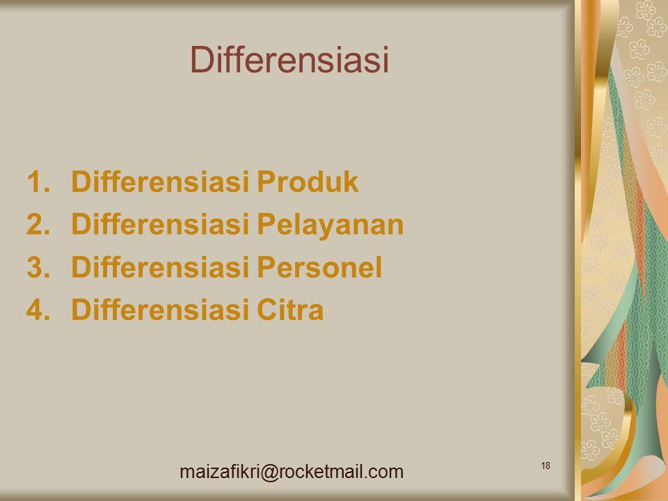 maizafikri@rocketmail.com 18 Differensiasi 1.Differensiasi Produk 2.Differensiasi Pelayanan 3.Differensiasi Personel 4.Differensiasi Citra