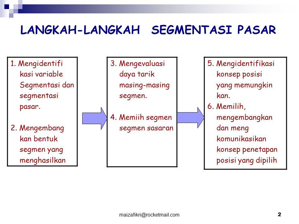 maizafikri@rocketmail.com3 Pola segmentasi pasar Tiga pola Segmentasi Pasar, yaitu : 1.Preferensi Homogen, menunjukkan suatu pasar dimana semua pelanggan memiliki preferensi yang sama dimana pasar tidak menunjukkan segmen alami.