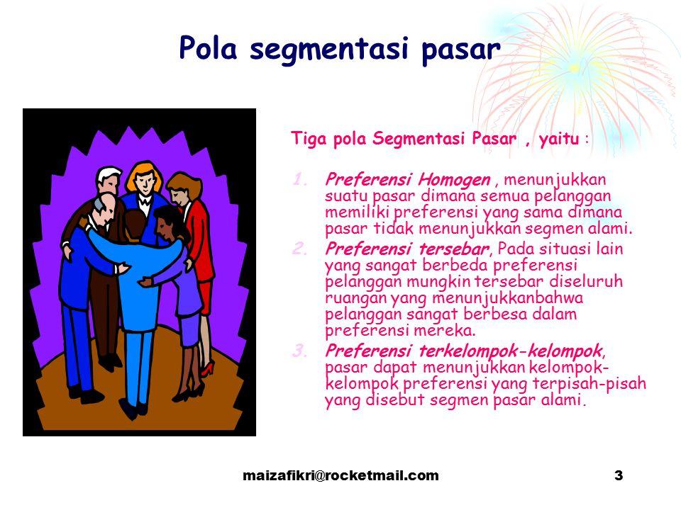 maizafikri@rocketmail.com3 Pola segmentasi pasar Tiga pola Segmentasi Pasar, yaitu : 1.Preferensi Homogen, menunjukkan suatu pasar dimana semua pelang