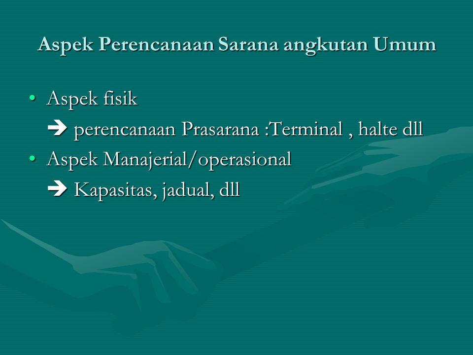Aspek Perencanaan Sarana angkutan Umum Aspek fisikAspek fisik  perencanaan Prasarana :Terminal, halte dll Aspek Manajerial/operasionalAspek Manajeria