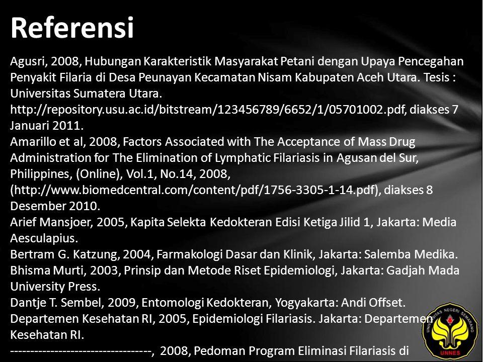 Referensi Agusri, 2008, Hubungan Karakteristik Masyarakat Petani dengan Upaya Pencegahan Penyakit Filaria di Desa Peunayan Kecamatan Nisam Kabupaten Aceh Utara.