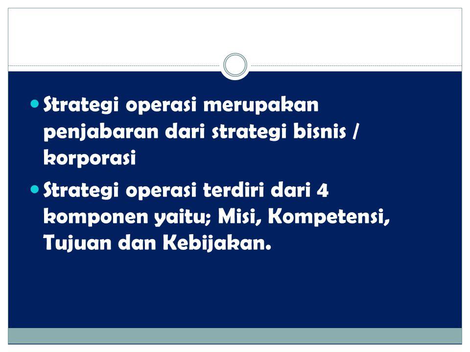 Strategi operasi merupakan penjabaran dari strategi bisnis / korporasi Strategi operasi terdiri dari 4 komponen yaitu; Misi, Kompetensi, Tujuan dan Ke