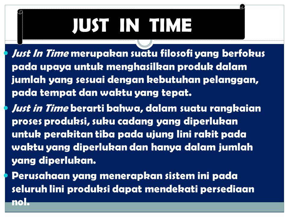 Just In Time merupakan suatu filosofi yang berfokus pada upaya untuk menghasilkan produk dalam jumlah yang sesuai dengan kebutuhan pelanggan, pada tem